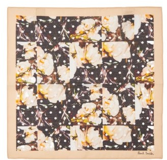 Paul Smith Orchid And Polka Dot Cotton Pocket Square - Multi