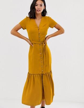 New Look button detail midi dress in mustard-Yellow