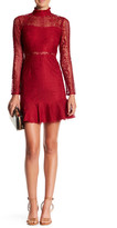 Minuet Ruffle Mock Neck Lace Dress
