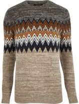 River Island MensBrown fairisle knit sweater