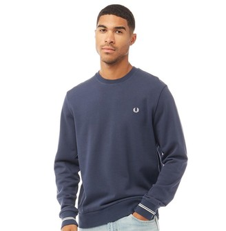Fred Perry Mens Crew Neck Sweatshirt Inky Blue