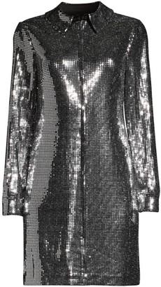 Aidan Mattox Long-Sleeve Laminate T-Shirt Dress