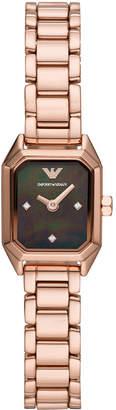Emporio Armani Women Rose Gold-Tone Stainless Steel Bracelet Watch 17x19mm