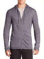 John Varvatos Striped Long Sleeve Zip-Front Hoodie Sweater