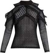 Self-Portrait Purl-knit lace cut-out shoulder top