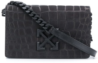 Off-White Arrows motif crocodile-effect crossbody bag