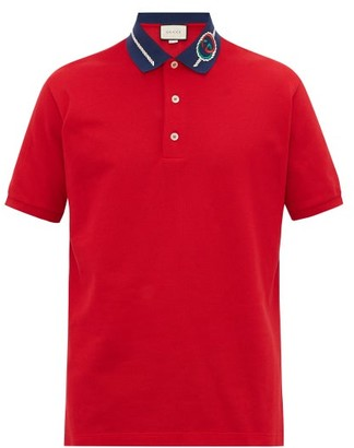 Gucci Embroidered Rope Gg-logo Cotton-pique Polo Shirt - Red
