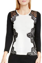Vince Camuto Side Lace Trim Long Sleeve Sweater