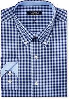 Nautica Men's Classic-Fit Navy and Light Blue Gingham Dress Shirt