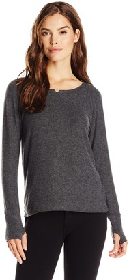 Michael Stars Women's Brushed Jersey Long Sleeve Notch Neck Top with Thumbholes