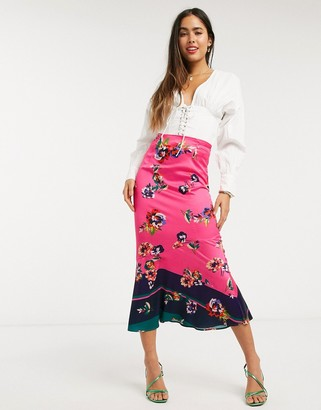 Liquorish midi skirt in pink floral