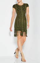 Herve Leger Haylee Eyelet Fringe Dress