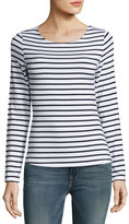 Frame Nautical Stripe Boat-Neck Long-Sleeve Top, Navy/Blanc