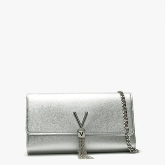 Valentino By Mario Valentino Divina Silver Pebbled Clutch Bag