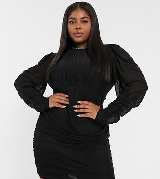 NaaNaa Plus mesh long sleeve bodycon dress in black