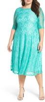 Sangria Plus Size Women's Fit & Flare Lace Dress