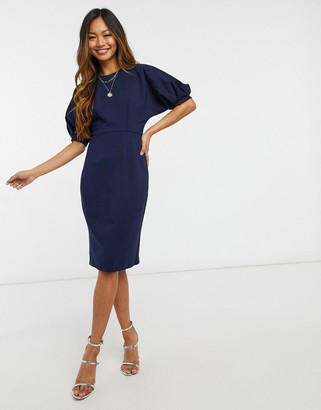Closet London balloon sleeve pencil dress in navy