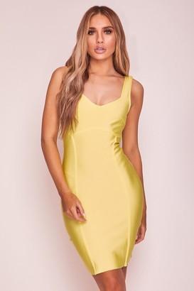 Hachu Yellow Structured Bandage Mini Dress