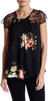 Bobeau Floral Eyelash Lace Shirt (Petite)