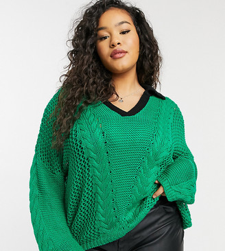 Glamorous Curve oversized knitted jumper in emerald with contrast collar