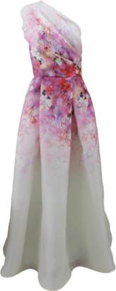 Naeem Khan Floral One Shoulder Gown