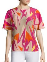 M Missoni Abstract Palm Silk Top