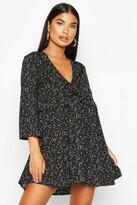 boohoo Petite Woven Spot Print Frill Smock Dress