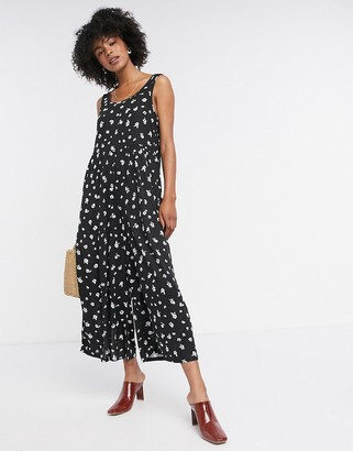 ASOS DESIGN lounge jersey scoop neck smock jumpsuit in grungy mono floral