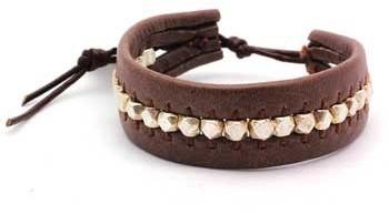 Chan Luu Silver Nuggets on Brown Leather Single Wrap Bracelet