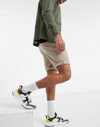 ASOS DESIGN skinny chino shorts in stone