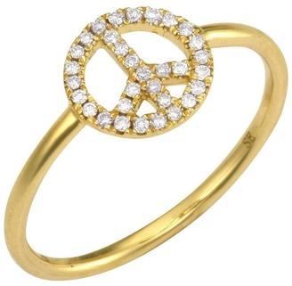 Sydney Evan 14kt Yellow Gold Diamond Peace Ring