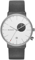 Skagen Men's Gray Leather Strap Watch 40mmx39mm SKW6319