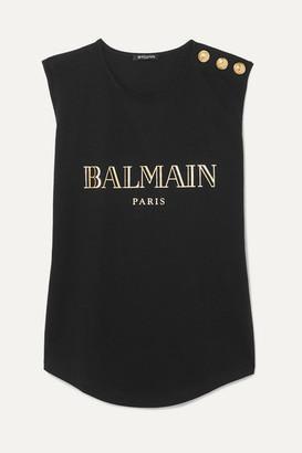 Balmain Button-embellished Printed Cotton-jersey Tank - Black