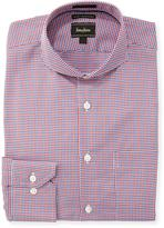 Neiman Marcus Luxury Tech Trim-Fit Micro-Plaid Dress Shirt, Red