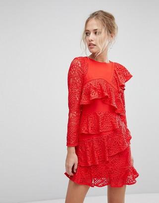 Aijek Long Sleeve Mini Lace Shift Dress With Ruffle Detail