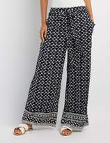 Charlotte Russe Printed Tie-Front Palazzo Pants