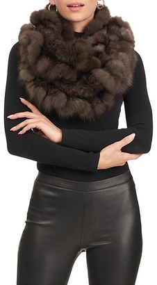 Gorski Sable Fur Infinity Knit Scarf With Ruffles