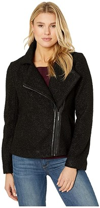 Liverpool Zip-Up Moto Jacket in Soft Boucle (Black) Women's Clothing