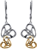 Jessica Simpson Heart Dangle Earrings in Sterling Silver and 10k Yellow Gold