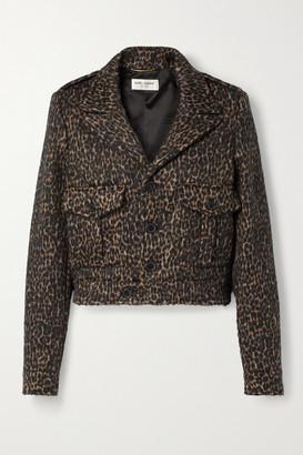 Saint Laurent Cropped Leopard-print Wool-blend Jacket - Leopard print