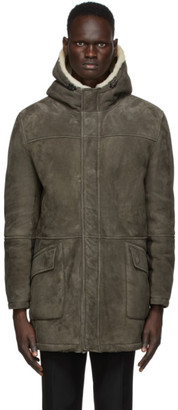 Yves Salomon Reversible Grey Suede Coat