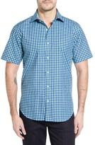 Bugatchi Men's Shaped Fit Short Sleeve Gingham Sport Shirt