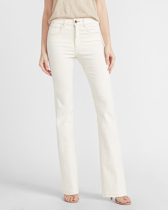 Express High Waisted Denim Perfect Off-White Bootcut Jeans