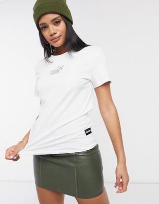 Puma Queen oversized logo t-shirt in white
