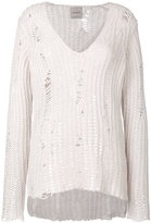 Nude distressed knit sweater