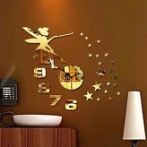 Amaonm® Cute Modern Design Removable DIY 3d Angel Girls Princess Stars Mirror Acrylic Wall Clock Wall Decals Sticker for Kids Girls Bedroom Living Room Nursery Classroom Decorations (Z050, Golden)