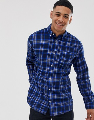 Jack and Jones Originals checked shirt in navy