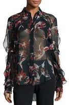 Nicholas Silk Floral-Print Ruffle Shirt