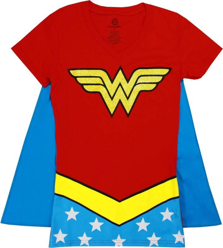 Bioworld Wonder Woman Glitter V-Neck With Cape