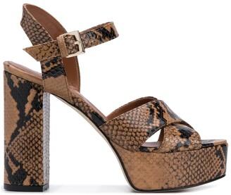 Paris Texas 125mm Snakeskin Print Sandals
